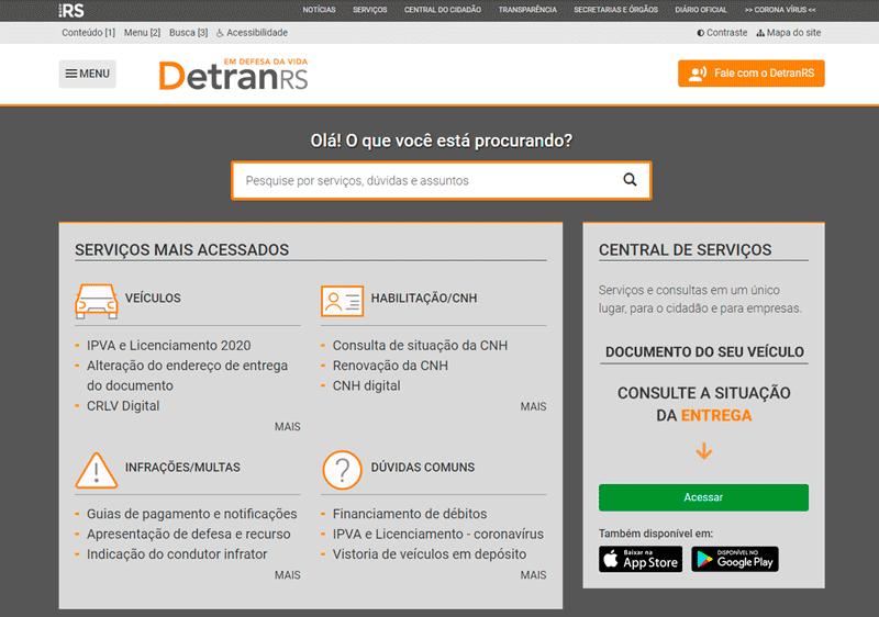 Site Detran RS 2021